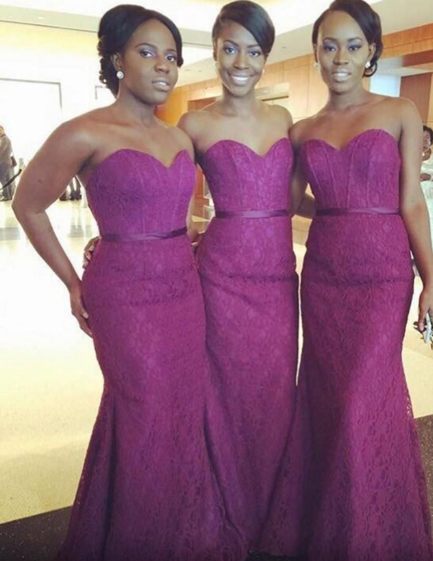 Sexy Purple Lace Dresses For Long Mermaid Bridesmaid Dresses Floor ...