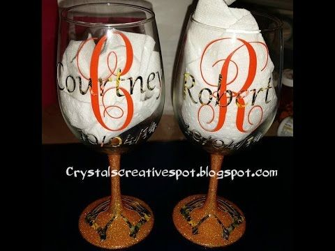 d1b25a5998c How to make personalized wine glasses using vinyl (outdoor vinyl), glitter  and Mod Podge