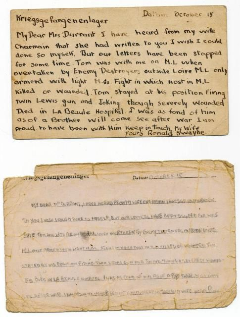Letter from Lieut Ronnie Swayne to Mrs Durrant from his POW camp - letter of firing