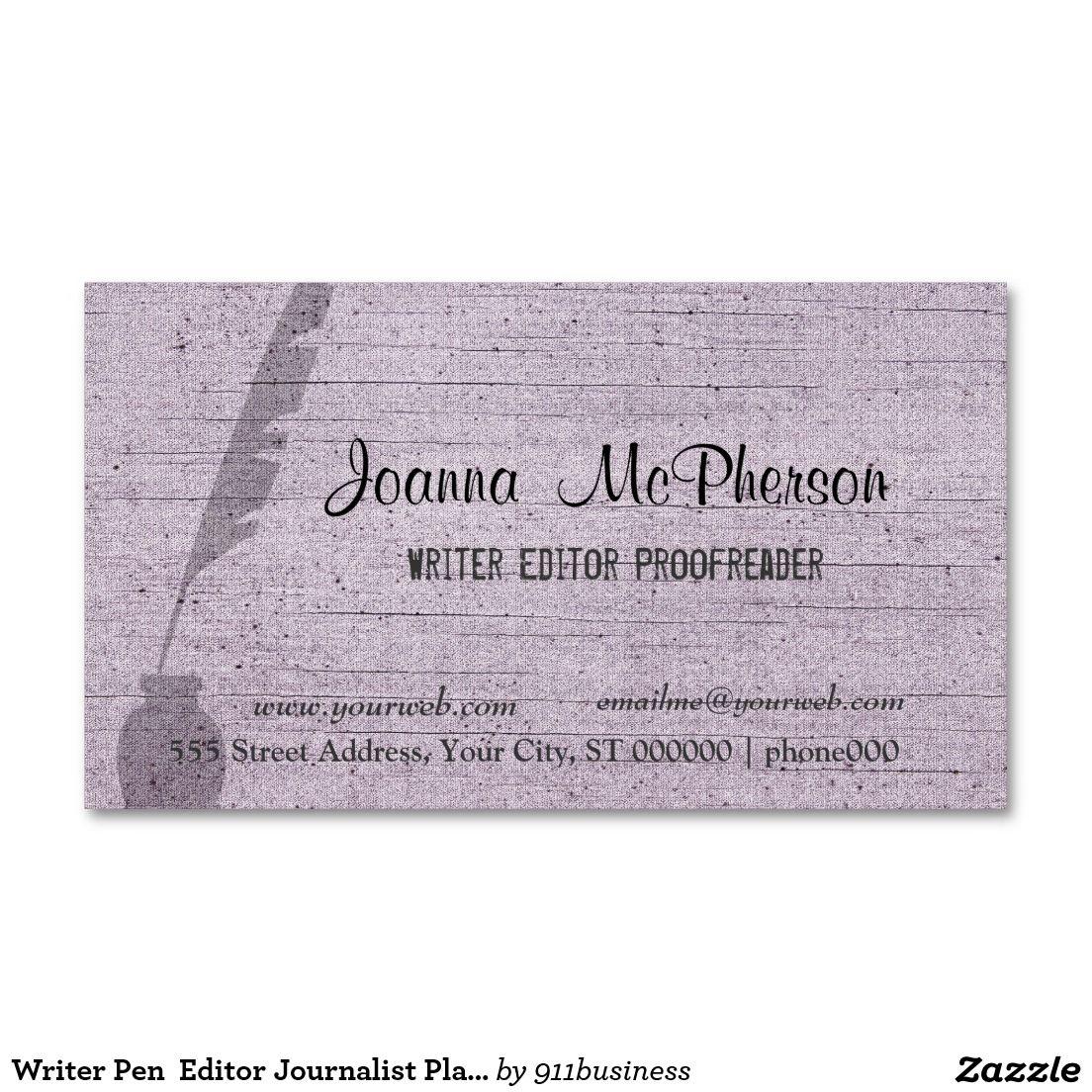 Modern Writer\'s Antique Pen Professional Business Card | Pinterest ...