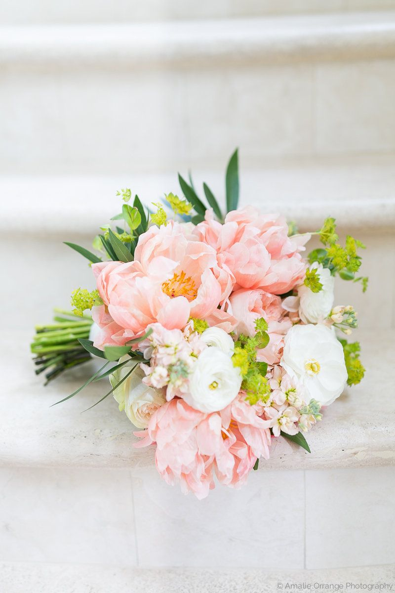classic and elegant bridal bouquet of coral charm peony juliet garden rose white ranunculus