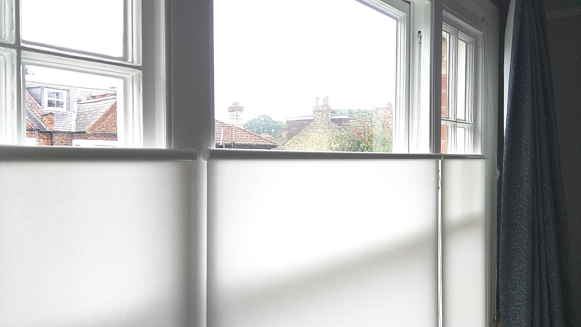 Bottom Up Roller Blinds Installed To Bedroom Window In Barnes London Privacy