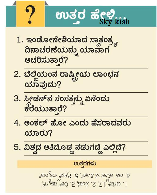 Skykishrain - Kannada Important General Knowledge Questions