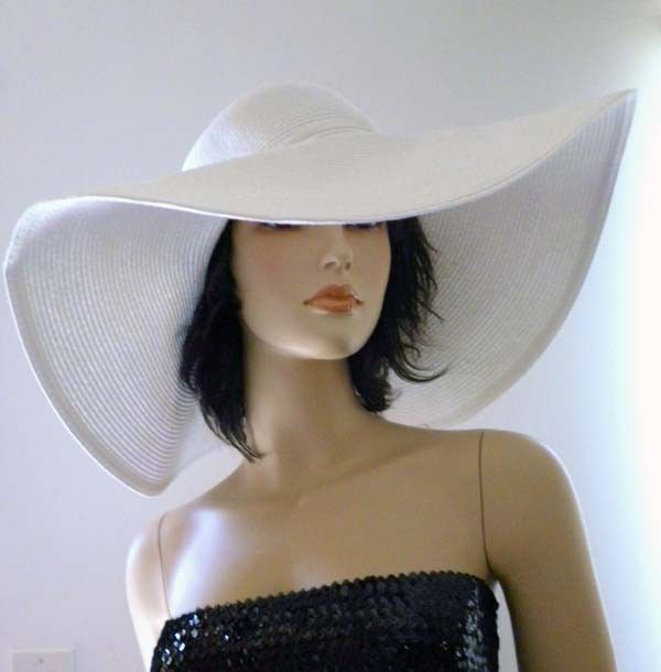 009 Elegant Hot Sexy White Sun Floppy Formal Church Wide Brim Derby Fashion Hat