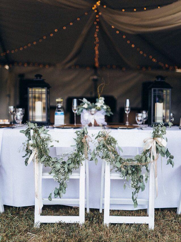 Outdoor White Tent Wedding Reception Decor Garland Bride And Groom