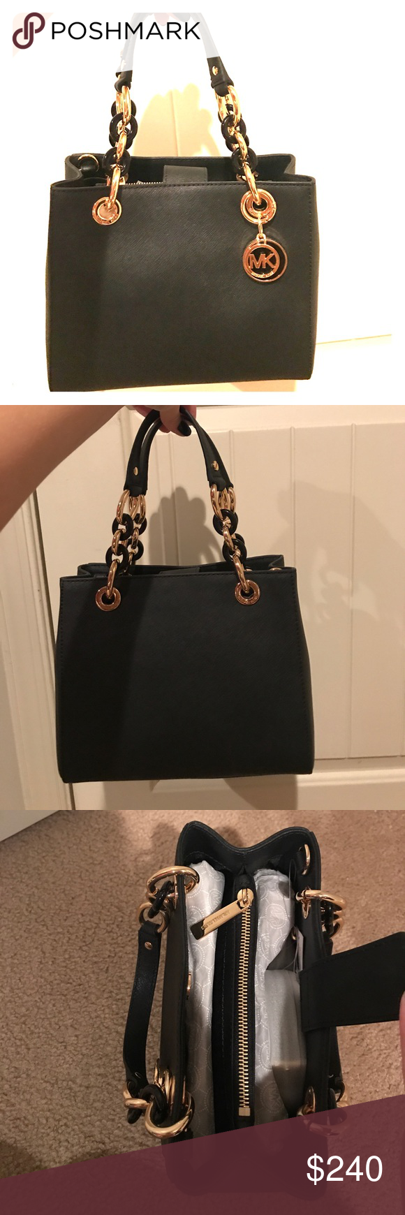 b42806e912bdaf Authentic brand new Michael Kors handbag Black handbag with gold/black chain  handles, BRAND NEW with tags. Never used! Strap included. Michael Kors Bags