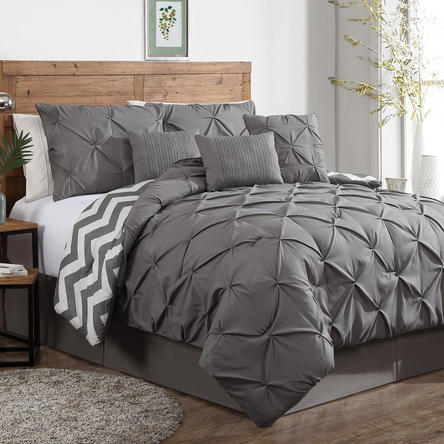 Geneva Home Fashion 7Piece Ella Pinch Pleat Comforter Set