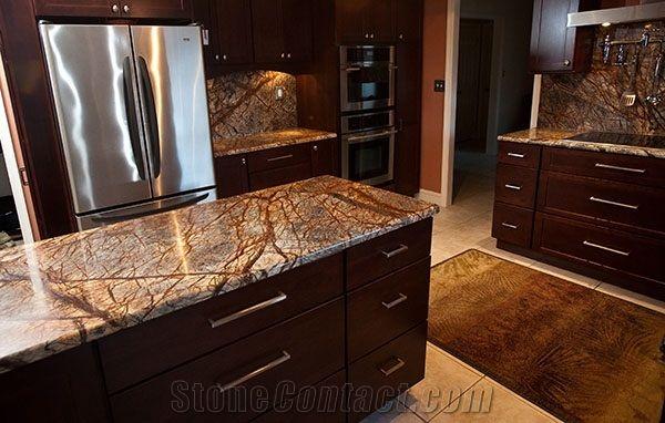 Rainforest Brown Marble Kitchen Countertops Kitchen Marble Marble Countertops Kitchen Kitchen Island Design