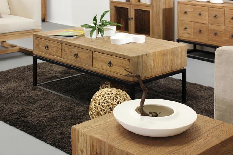 American Iron Wood Coffee Table With Drawers Modern Minimalist
