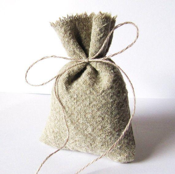 hemp party favours | to Hemp Linen Favor Bag Rustic Woodland Eco Wedding Party Favor ...