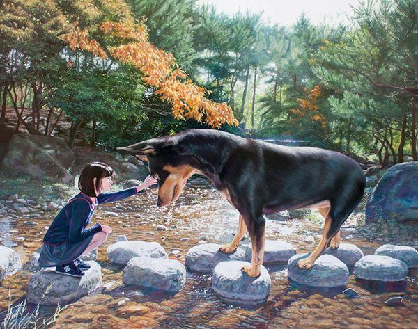 Jeong Woo Jae y su pequeño gran perro