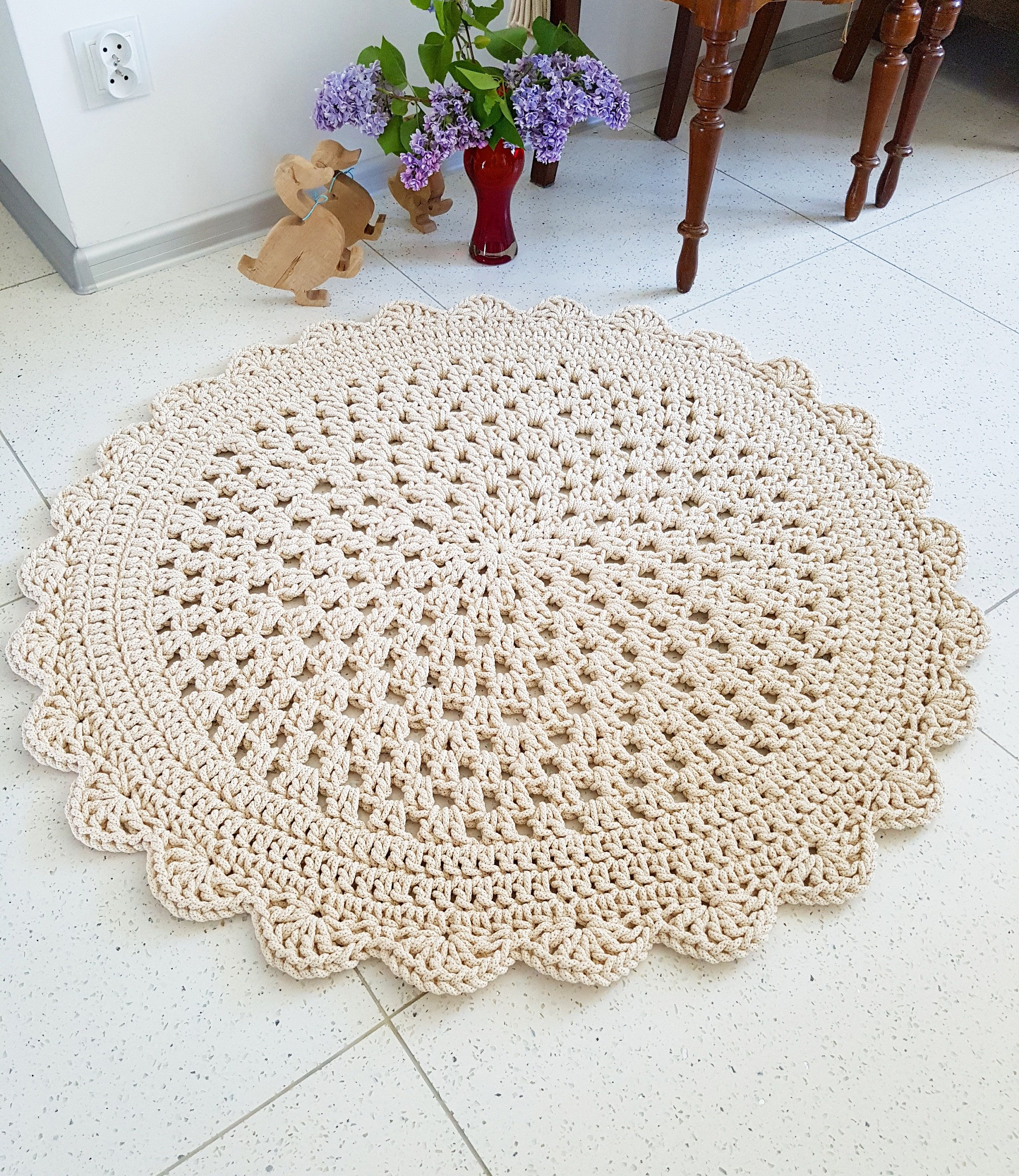 Many Colors Sizes Handmade Large Crochet Rug Washable Cotton Natural Carpet Cord Doily Modern By Madeofweaves On Etsy