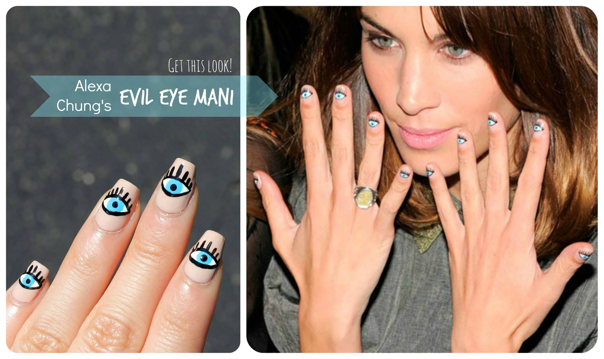 Alexa Chung\'s Evil Eye Nail Art | Evil eye nails, Evil eye and Eye