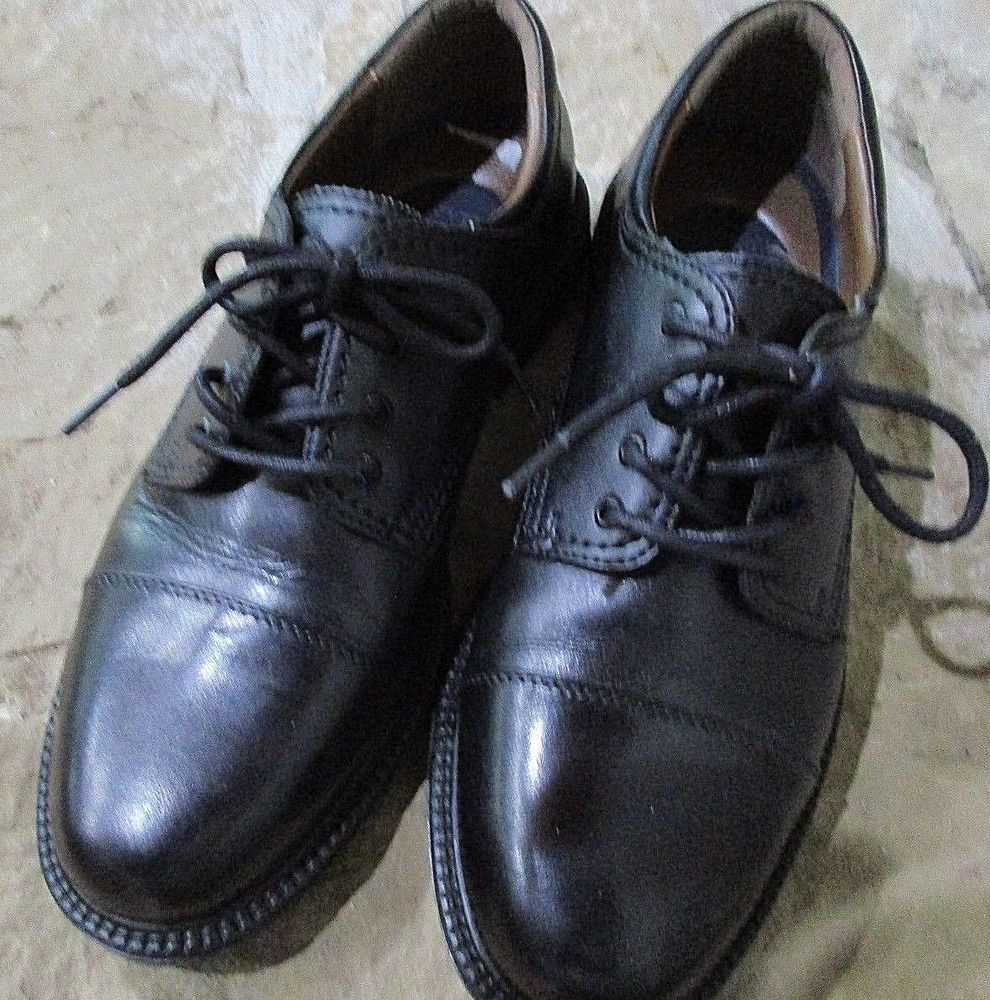 Mens dockers size m black leather laceup shoes casual dress ebay
