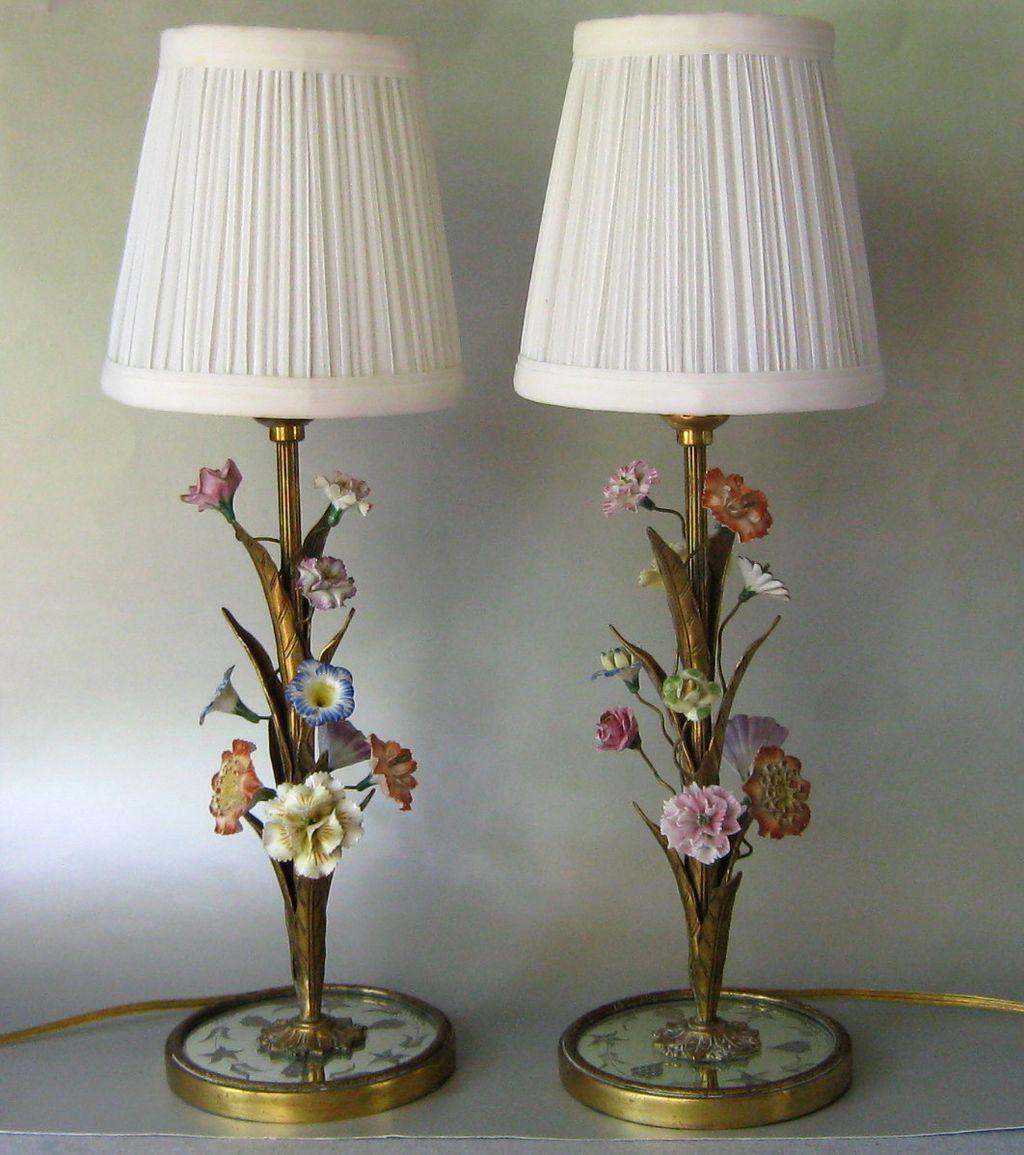 Pair Of Simple Church Lights For Sale: Pair Vintage French Gilt Bronze & Porcelain Flower Boudoir