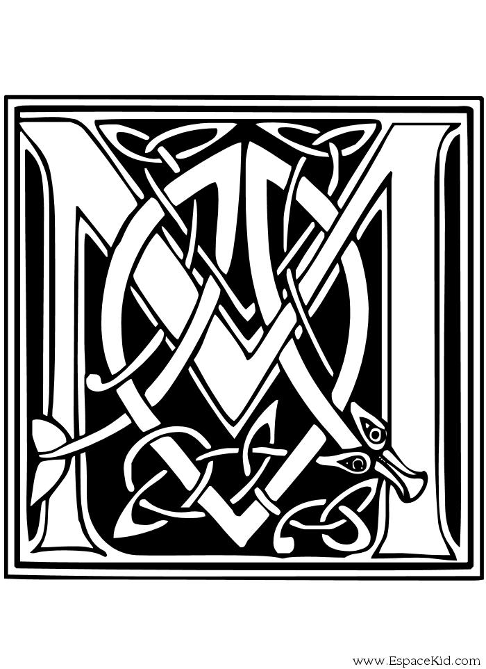 Coloriage lettre m coloriages lettrine celte illuminated letters pinterest lettrine - Alphabet a colorier a imprimer ...