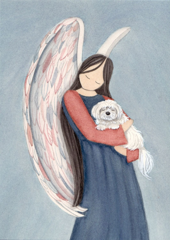 Maltese with angel / Lynch signed folk art print. $12.99, via Etsy.