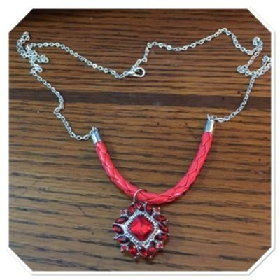 Sterling silver plated & red leather red snap necklace