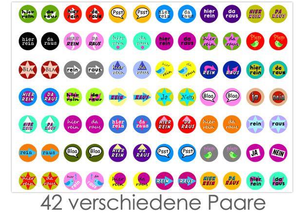 """Cabochonbilder ★ Cabochon Vorlagen ★ Download Cabochon ★ Cabochonbilder ★ Bilder für Buttons ★ Buttonvorlagen *""""hier rein - da raus""""*   84 Cabochonvorlagen = 42 verschiedene Paare für die..."""