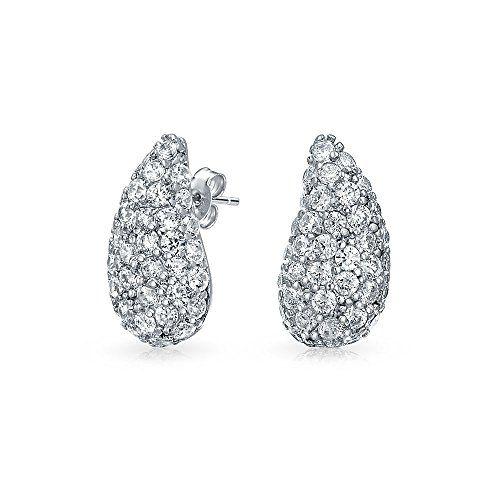 Bling Jewelry Classic CZ Teardrop Stud earrings 925 Sterling Silver 8mm up76Wm