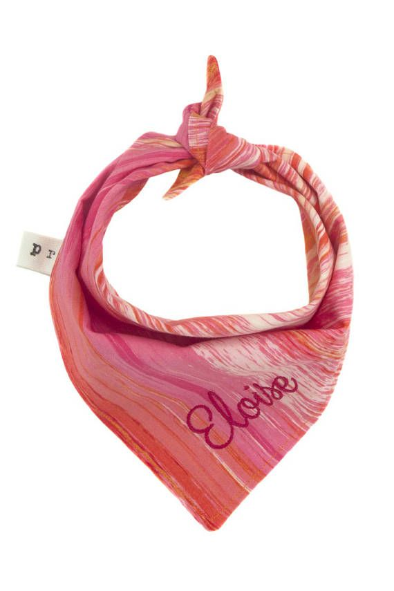 Pink Personalized Pet Scarf, Ombre Monogrammed Dog Bandana