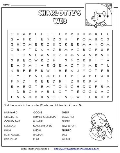 Charlottes web worksheets first grade