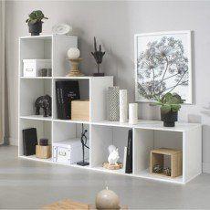 Etagere 7 Cases Multikaz Blanc H 137 2 X L 103 2 X P 31 7 Cm Commode De Chambre Decoration Cube Rangement Meuble Rangement