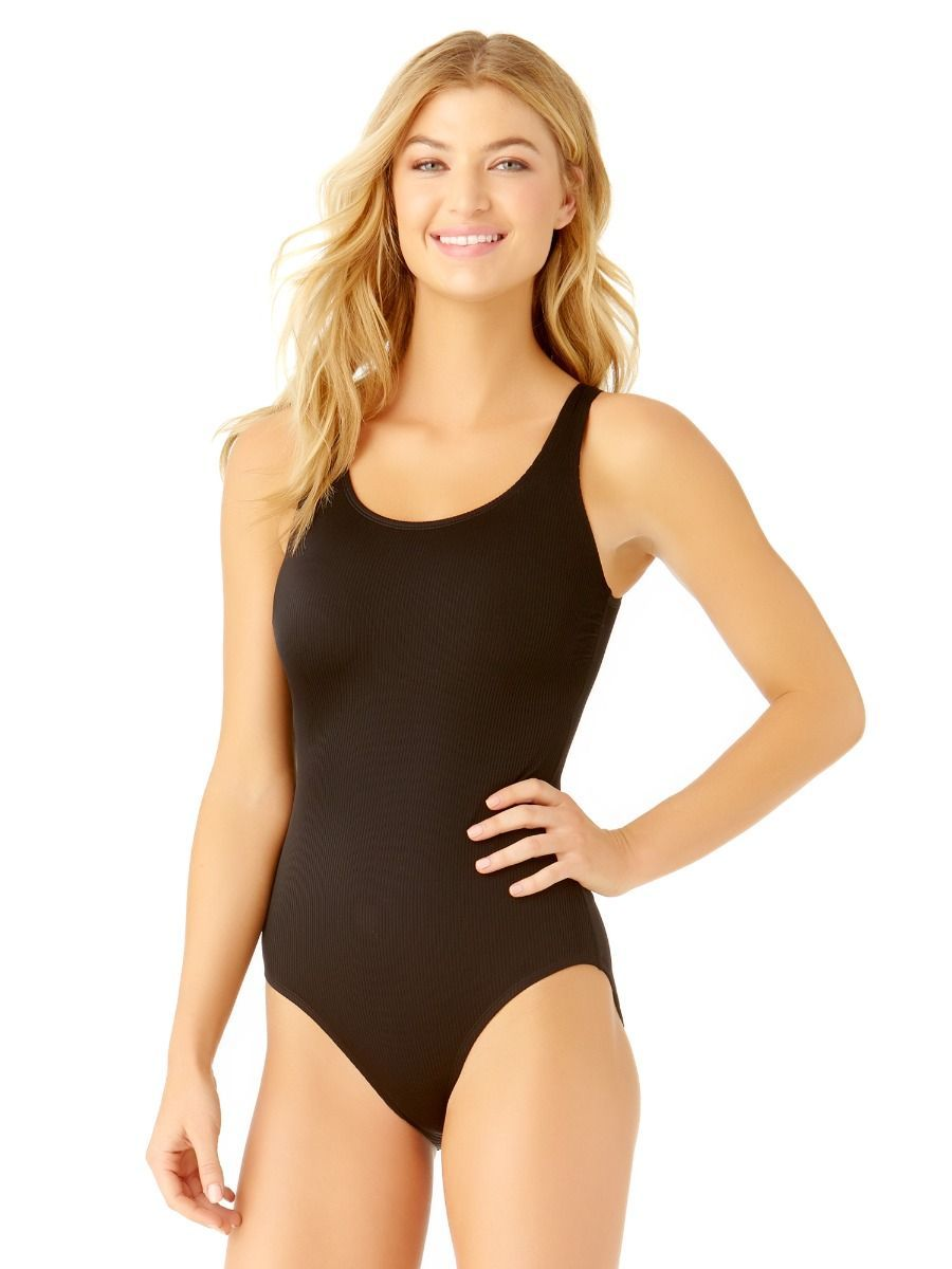 Catalina Womans Classic One Piece Black Ribbed Rib Pool Swimsuit