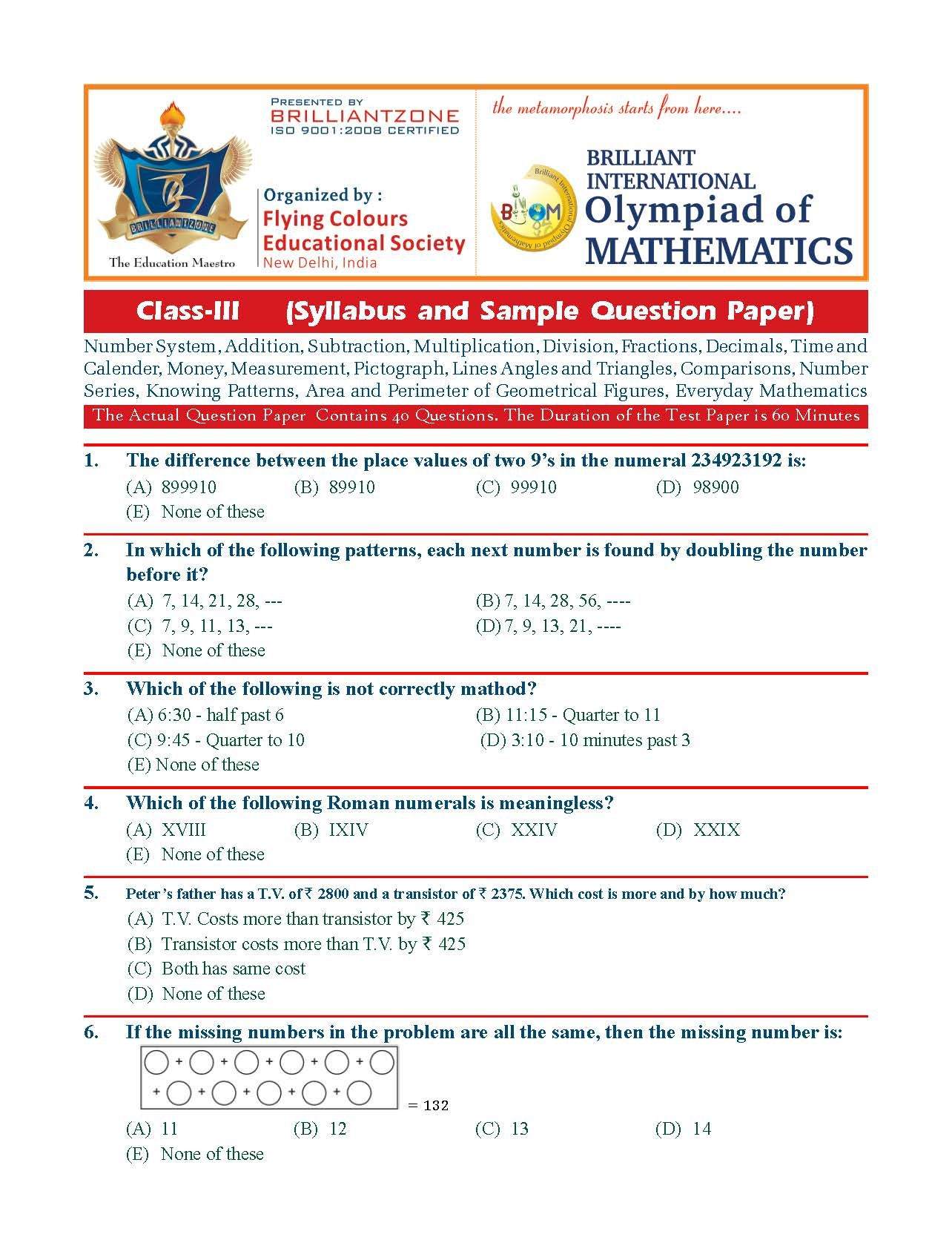 Class 3 Briliant International Mathematics Olympiad Biom