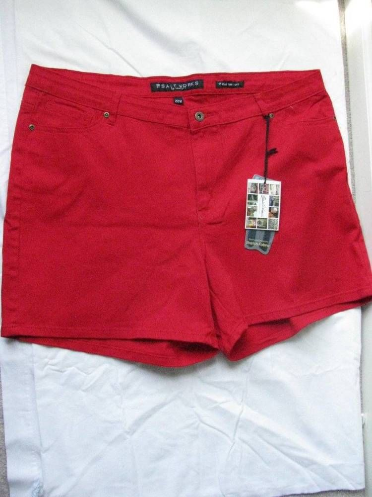 Salt Works Women's Red Stretch Med Rise Shorts  SZ 22W NWT #SaltWorks #CasualShorts