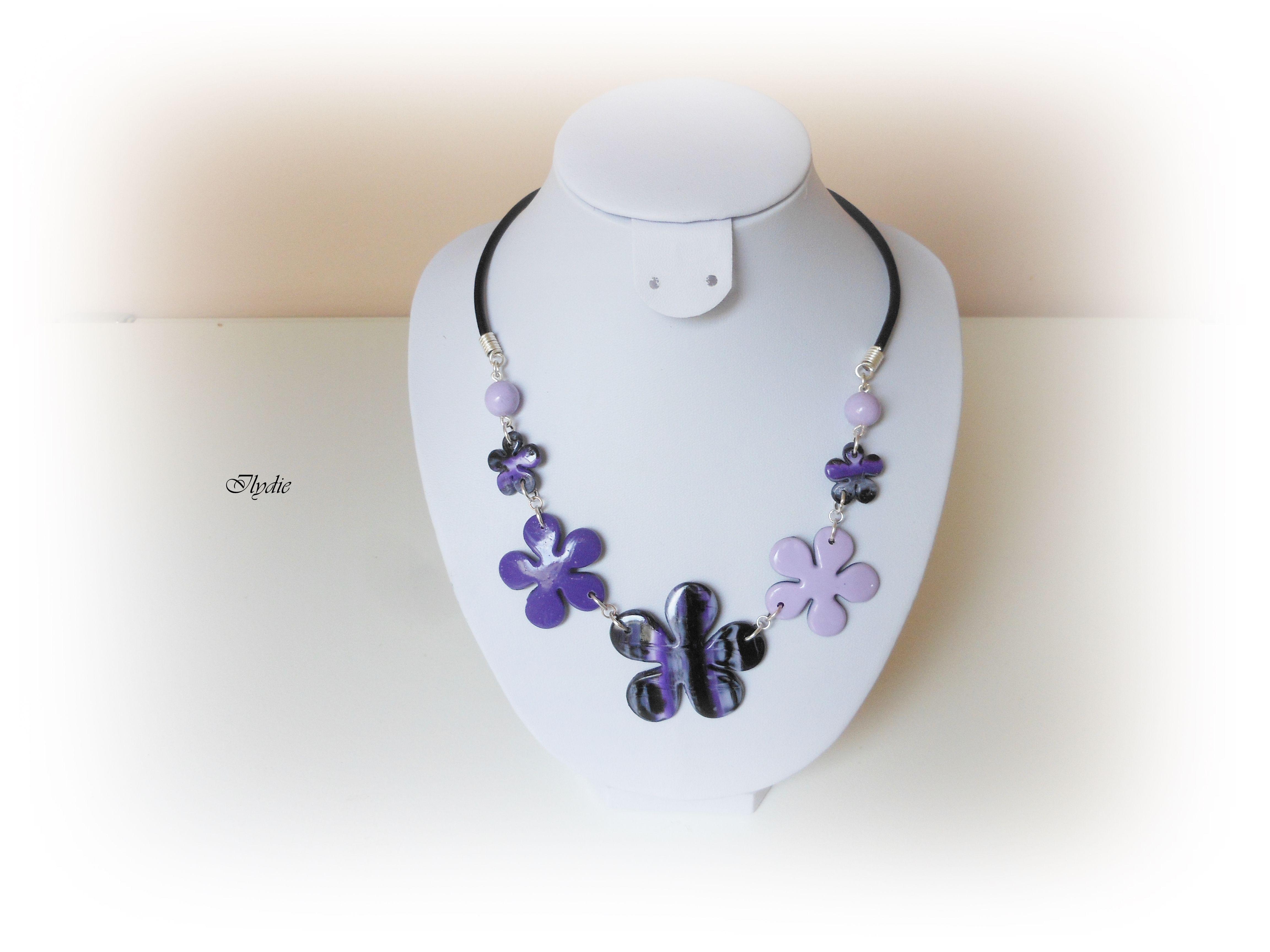 Collier Fleur Oeil De Tigre Violet Noir C28 2014 Colliers Fimo