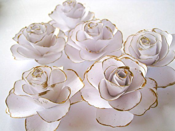 Small Paper Roses Paper Flowers With Stem Wedding Centerpiece
