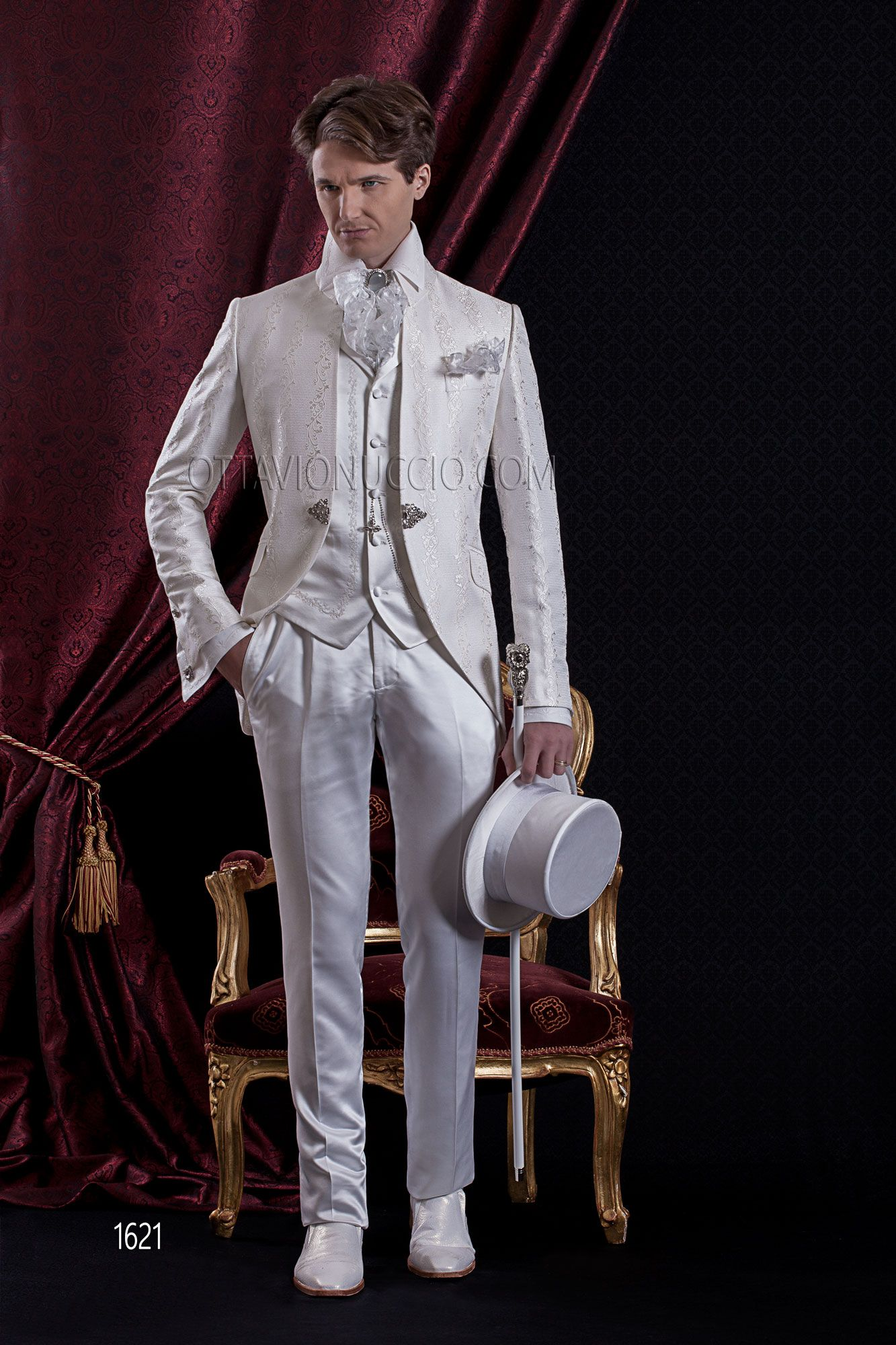Baroque wedding suit for man in white brocade ottavionuccio