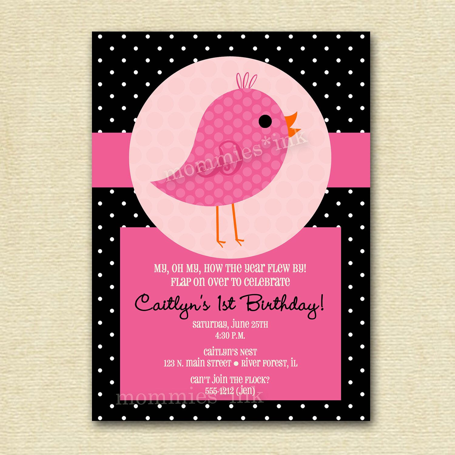 little bird birthday invitation. I HAD to repin this because I was ...