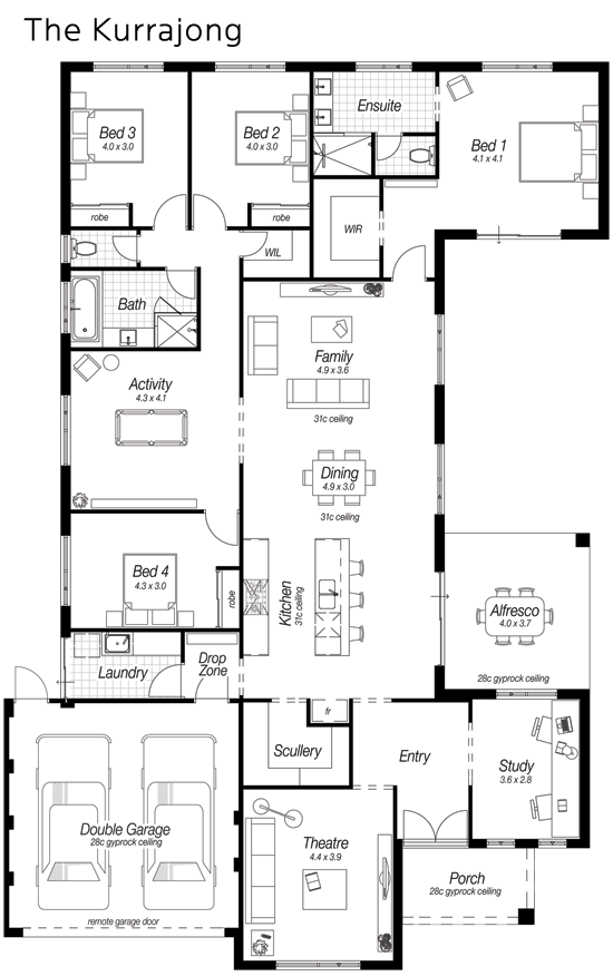 Floor Plan Friday: Modern kitchen, large scullery, drop zone ... on study zone, color zone, house plans in flood areas, construction zone,