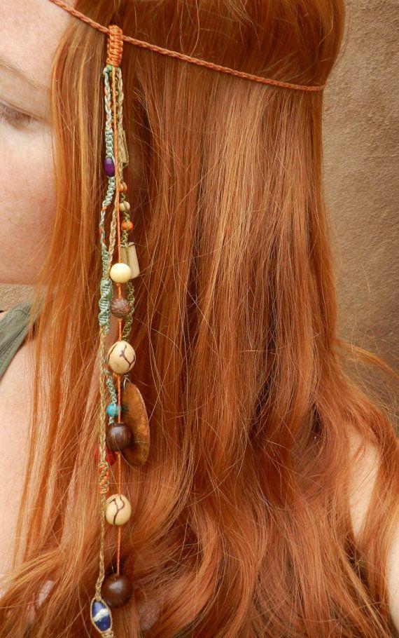 Boho Headband--Amazon Jungle Princess--hair feather-tribal headdress ... a2073b1b2d2