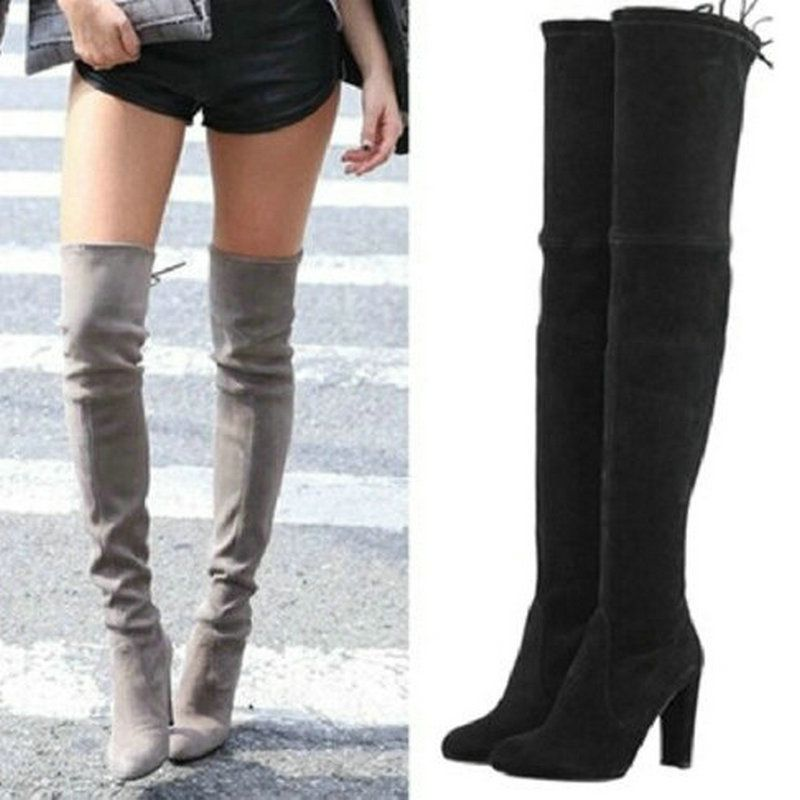 1eaec6a0d086 Womens Stretch Suede Over the Knee Boots Sexy Fashion Slim Thigh High Boots  Chunky Heels Plus Size Shoes Woman 2016 Black Grey