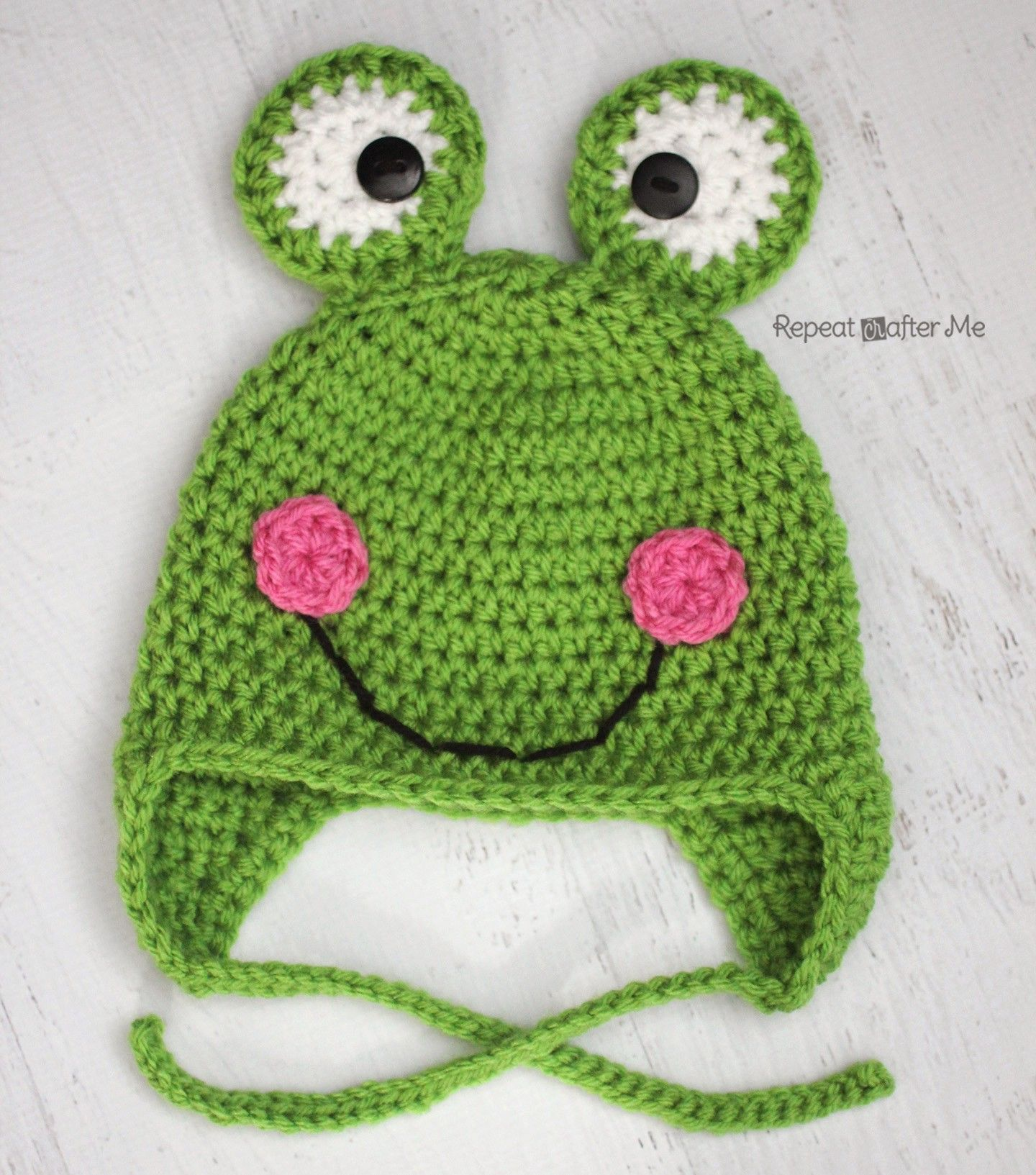 Crochet Frog Hat Pattern (Repeat Crafter Me) | Mütze kinder ...