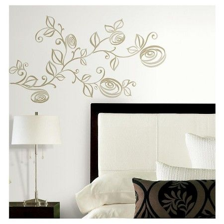 RoomMates Stylized Roses Peel and Stick Wall Decals