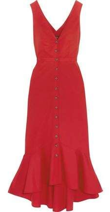 Cutout fluted stretch-cotton poplin midi dress 1