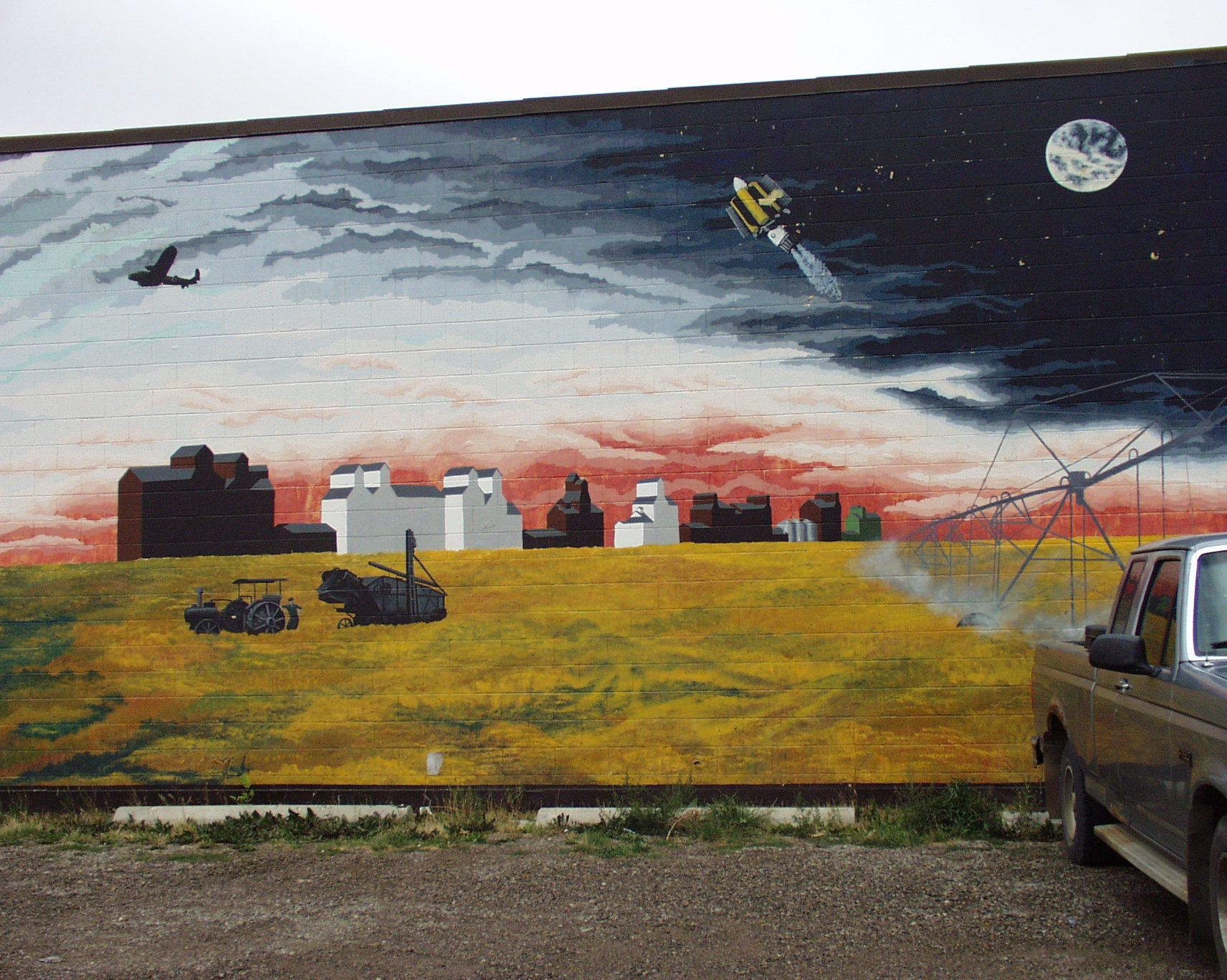 wall mural depicting agriculture and space flight in vulcan wall mural depicting agriculture and space flight in vulcan alberta canada