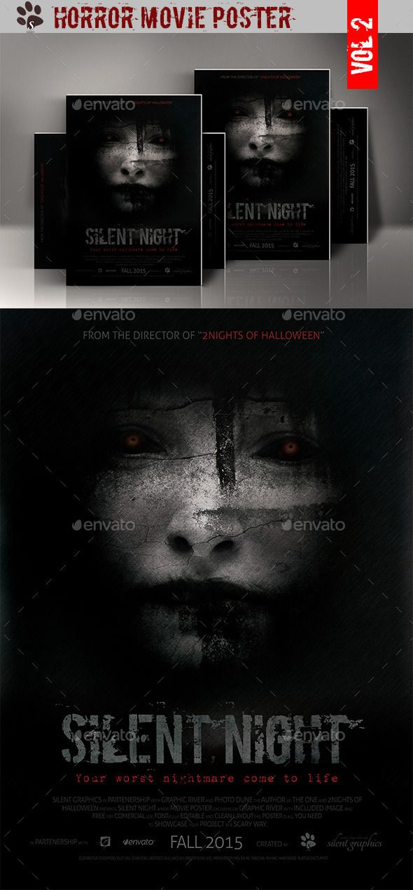 Horror movie poster movie poster template for Movie poster template psd