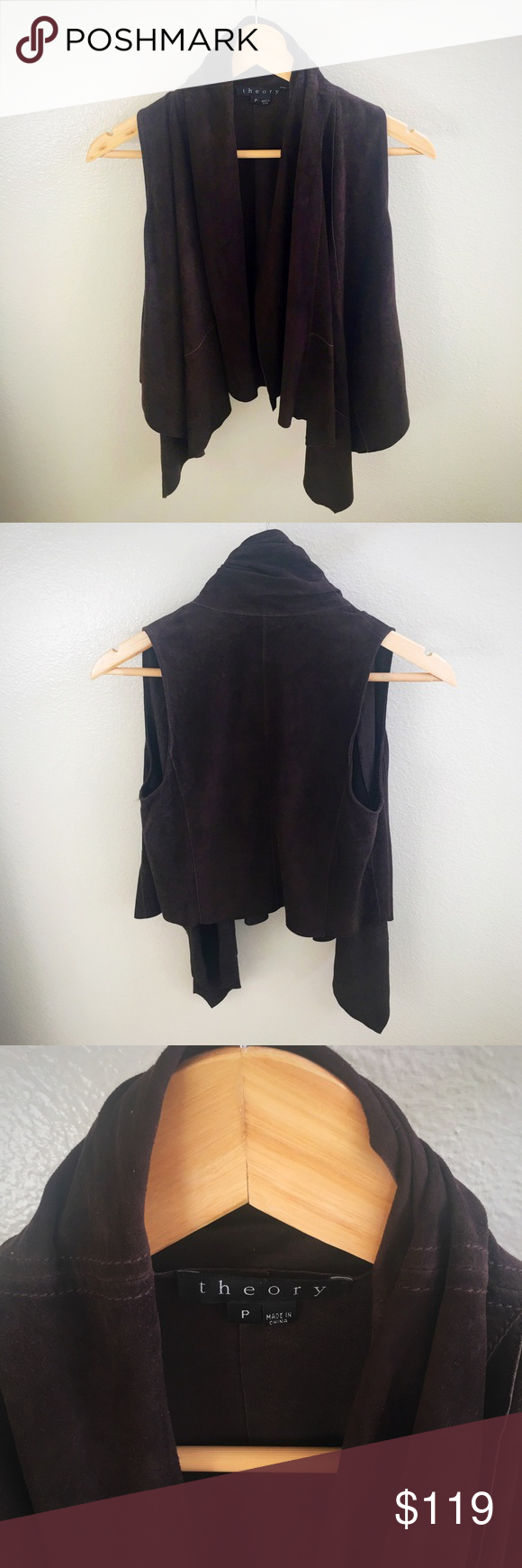 theory Genuine Leather Odelina Vest theory brand Boho Babe style espresso leather waterfall vest in size Petite. Elegant draping and rich color! Can be styled up or down, pairs well over a tight sweater dress or henley with jeans. *Perfect condition Theory Jackets & Coats Vests