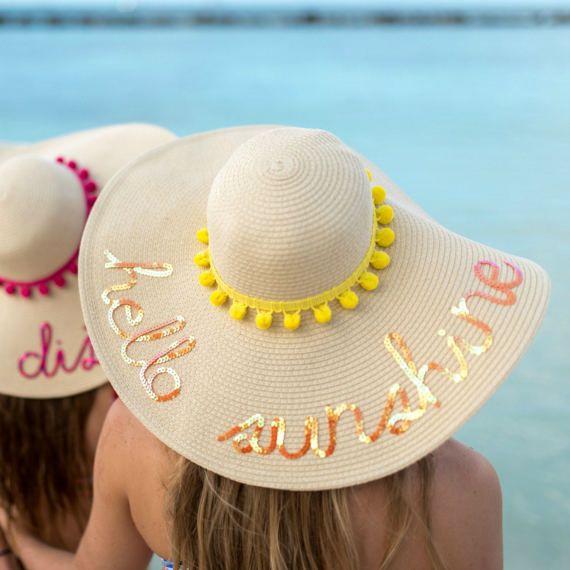 dfa80a9d362 Custom Women s Pom Pom Floppy Sun Hat