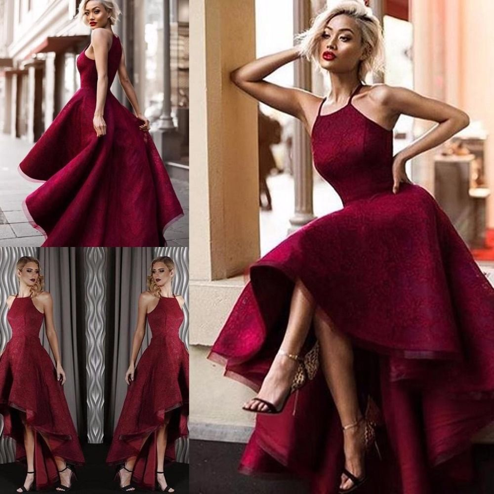 Click to buy ucuc burgundy high low lace backless prom dresses