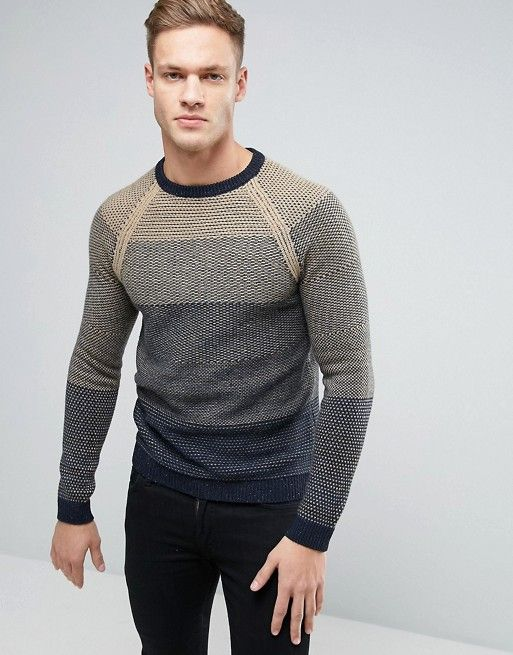 Sisley Chunky Knit Sweater With Mixed Stripe Detail  e7a82ff2a