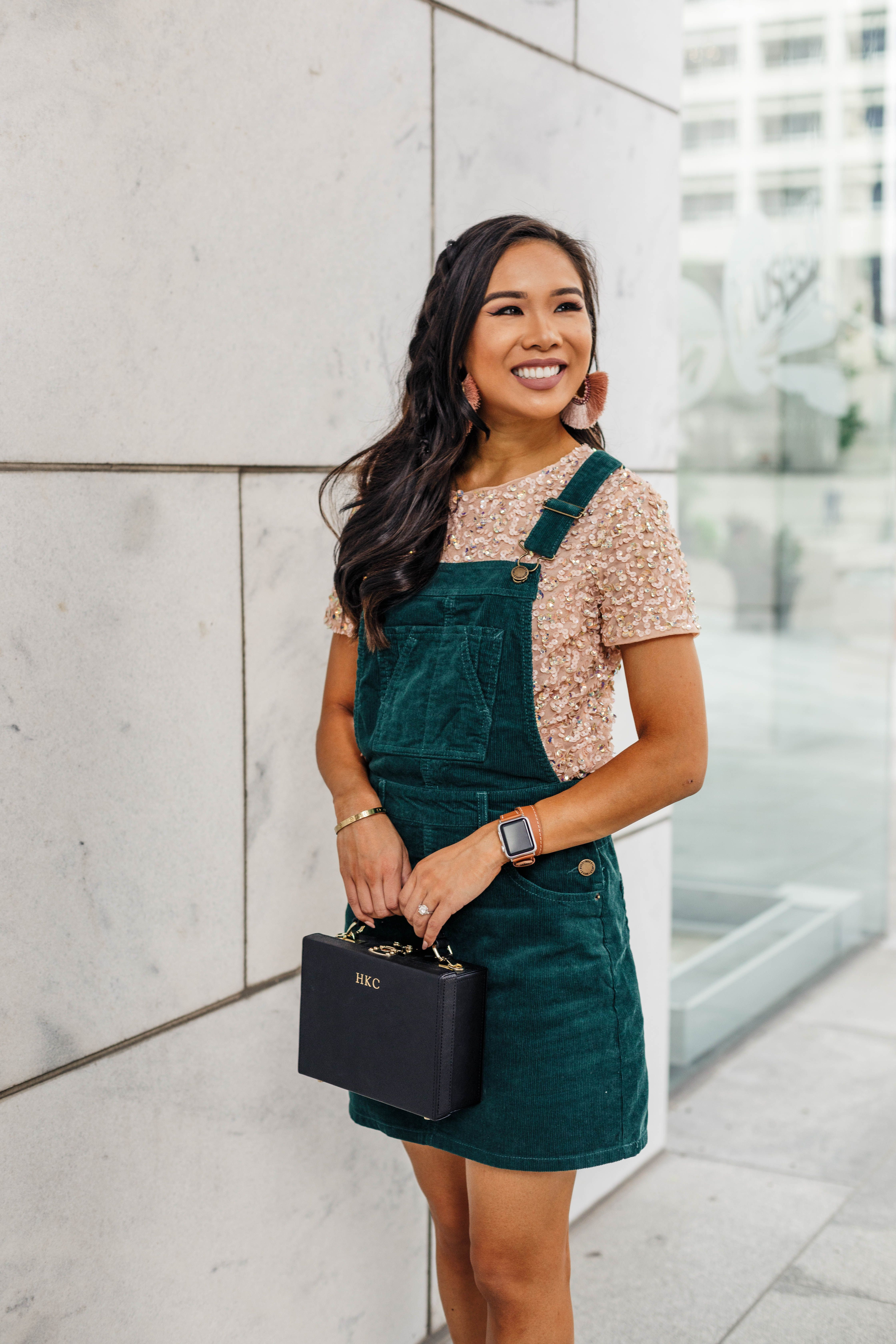 Styling A Corduroy Overall Dress For A Night Out Color Chic Corduroy Overall Dress Spring Outfits Casual Fall Dress Outfit [ 6720 x 4480 Pixel ]