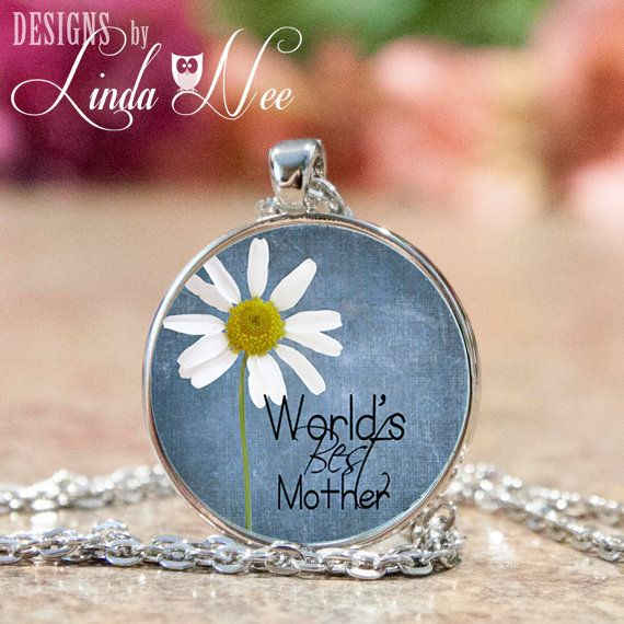 Personalized World\'s Best Mother Necklace with Daisy Flower, Mother ...