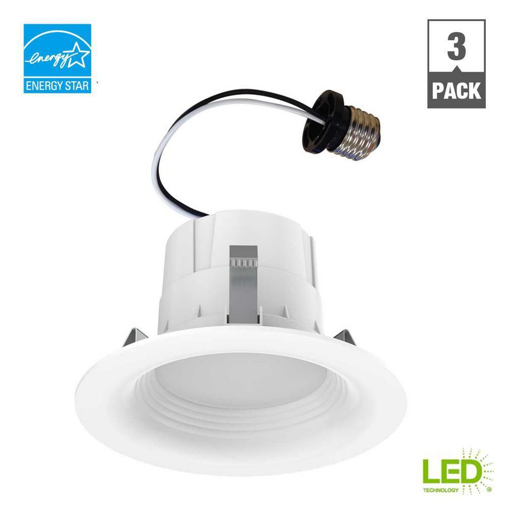 Ecosmart 65 Watt Equivalent Daylight 4 In White Integrated Led Recessed Trim 3 Pack Recessed Lighting Trim Led Can Lights