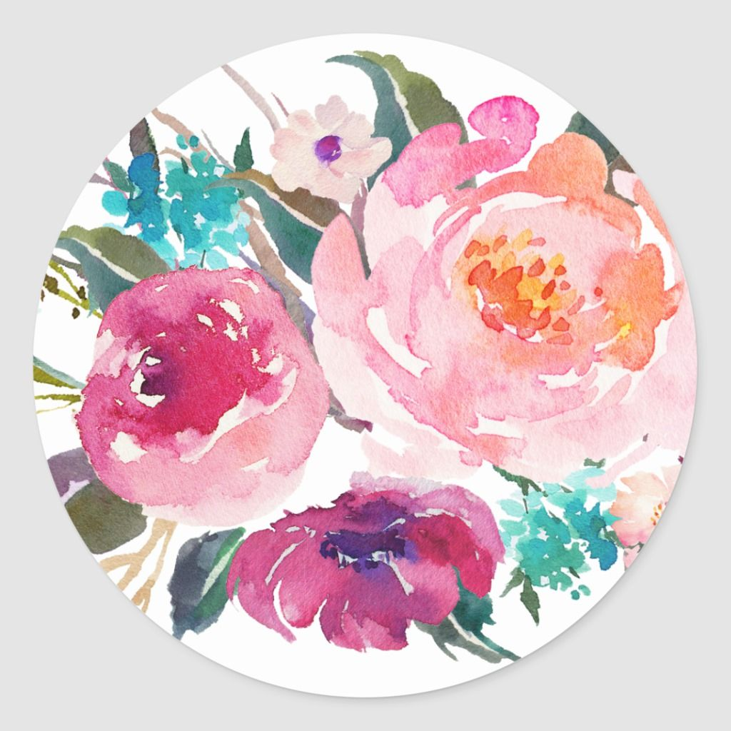 Floral Turquoise Pink Watercolor Bouquet Classic Round Sticker